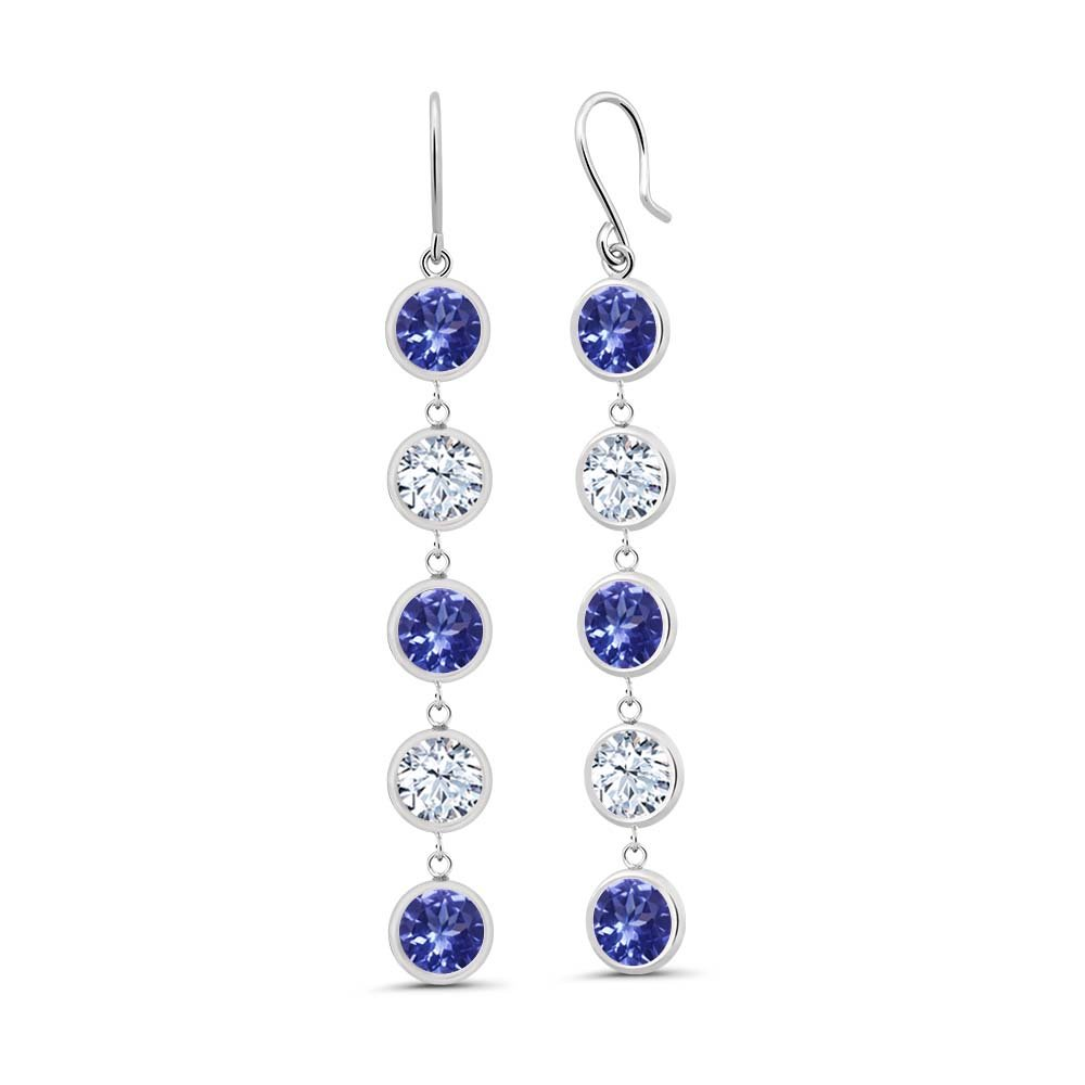 4.50 Ct Round Blue Tanzanite White Topaz 925 Sterling Silver Earrings