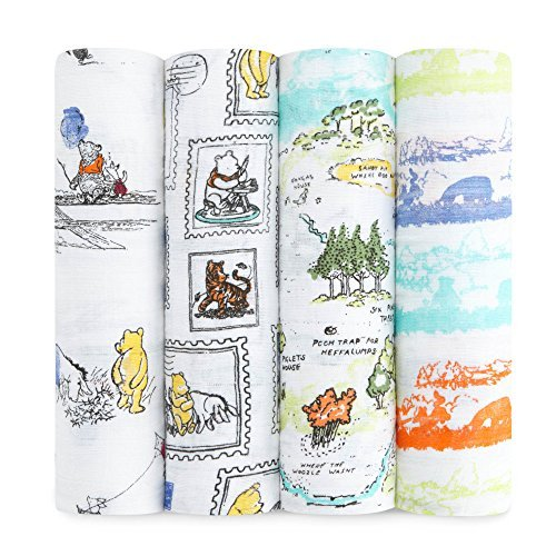 aden + anais Disney Classic Swaddle Baby Blanket, 100% Cotton Muslin, Large 47 X 47 inch, 4-pack, winnie the pooh