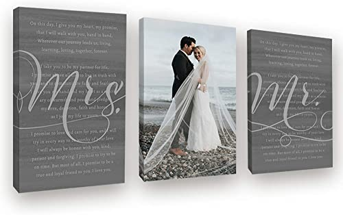 Pretty Perfect Studio His Hers Wedding Vows 3 Panel Custom Wall Art Set
