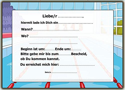 Perfekt Einladung Kindergeburtstag Schwimmbad Schwimmen Einladungskarten 10:  Amazon.de: Bürobedarf U0026 Schreibwaren