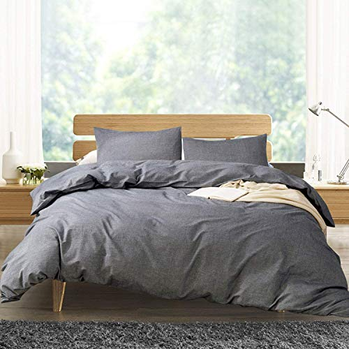 ATsense Duvet Cover Queen, 100% Washed Cotton, Bedding Duvet Cover Set, 3-Piece, Ultra Soft and Easy Care, Simple Style Farmhouse Bedding Set (Dark Grey 7003-4)