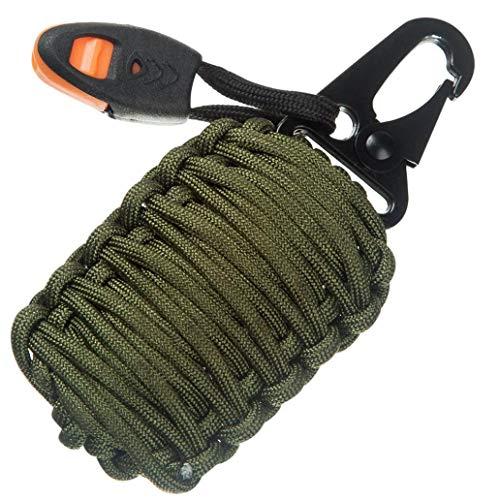 Quaanti Outdoor Camping Gear Carabiner Grenade 550 Paracord Survival Kit Fishing Kit and Sharp Eye Knife Useful Hunting Tools (B)