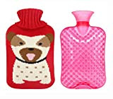 hot water bottle wool - Large Lovely Cartoon Dog Hot&Cold Water Bottle Hand Warmer Lasting Warmth, 2 L