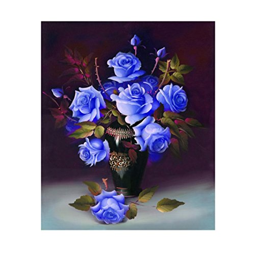 Blue Cross Resin - Fabal Full Diamond Embroidery Cross Pink Flowers Diamond Mosaic Peonies DIY Square Stick Drill Drawing Resin Craft Painting Rhinestone (Blue)