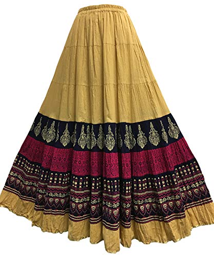 Indian Crinkled Gauze Cotton Boho Hand Block Printed Gypsy Beige & Pink Long Maxi Skirt No121
