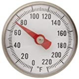"Supco ST02 Stainless Steel Pocket Dial Thermometer, 5"" Stem, 1"" Dial, 0 to 220 Degrees F"
