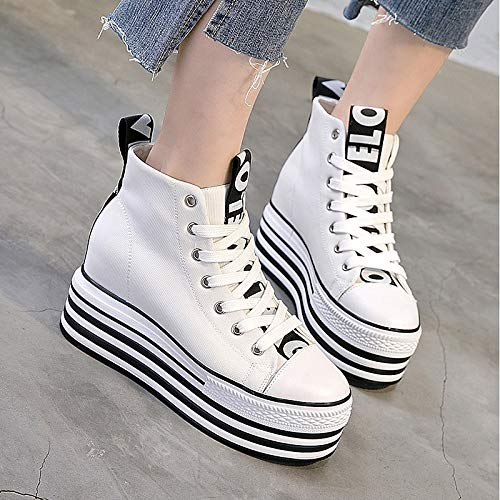 Sneakers Creepers Canvas Shoes Round White White Spring ZHZNVX Toe amp; Women's Black Summer Comfort 80w5xa