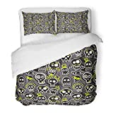Emvency Bedding Duvet Cover Set Queen (1 Duvet Cover + 2 Pillowcase) Skateboard Sketchy Skull in Gray Emo Boy Rock Rocker Baby Funny Punk Hotel Quality Wrinkle and Stain Resistant