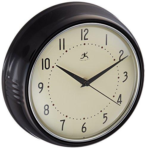 Clocks infinity instruments retro round metal wall clock for Black retro wall clock