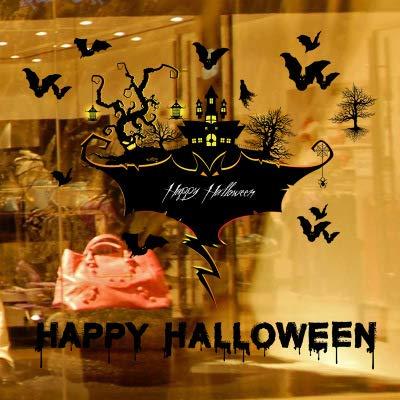 Halloween Wall Sticker DIY PVC 3D Creative Halloween Horror Witch Pumpkin Raven Wall Sticker Living Room Bedroom Glass Window Background Decoration Removable Wall Sticker 23.62 x 35.43 Inch (A)]()