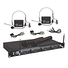 Pyle 4 Channel VHF Wireless Microphone System & Rack Mountable Base 2 Handheld MIC, 2 Headset, 2 Belt Pack, 2 Lavelier/Lapel MIC With Independent Volume Controls AF & RF Signal Indicators (PDWM4300)