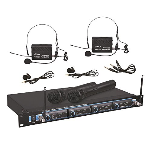 Pyle 4 Channel VHF Wireless Microphone System & Rack Mountable Base 2 Handheld MIC, 2 Headset, 2 Belt Pack, 2 Lavelier/Lapel MIC With Independent Volume Controls AF & RF Signal Indicators (PDWM4300) by Pyle