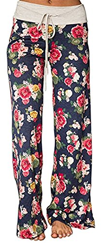 Sexymee Women's Pajama Bottom Sleep Lounge Palazzo Yoga Pants Striped Wide Leg,Blue 3,Medium
