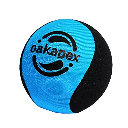 Stress & Anxiety Relief, Hand Exercise Therapy Squeeze Toy Carpal Tunnel Ball By Oakapex - 2.2 Inches Diameter Size For Kids & Adults - Medium Firmness Gel Core - Soft Lycra Fabric - Blue & Black ()