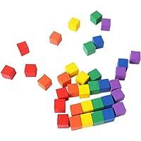 Healifty 100 piezas de bloques cuadrados de madera