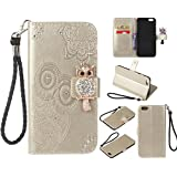 for iPhone 6 Plus 6S Plus Case, CrazyLemon Bling Rhinestone PU Leather Owl Embossed Wallet Stand Folio Cover Cases TPU Bumper with Kickstand Card Holders Money Clip Magnetic Clasp Shockproof Protective Case for iPhone 6 Plus / iPhone 6S Plus 5.5 inch - Gold