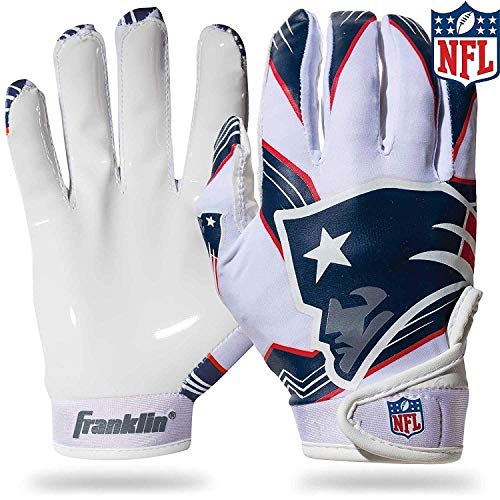 Franklin Sports New England Patriots Youth NFL Football Receiver Gloves - Receiver Gloves for Kids - NFL Team Logos and Silicone Palm - Youth S/XS Pair
