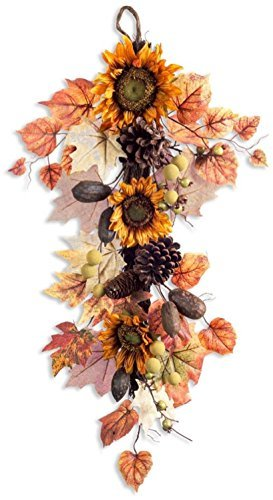 Melrose 32'' Autumn Harvest Orange and Brown Natural Sunflower Fall Foliage Artificial Thanksgiving Swag by Melrose