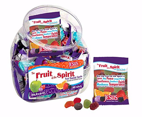 Faith Candy - Scripture Candy 118284 Candy Fruit Of The Spirit Gummy Fruit Snack Counter Jar