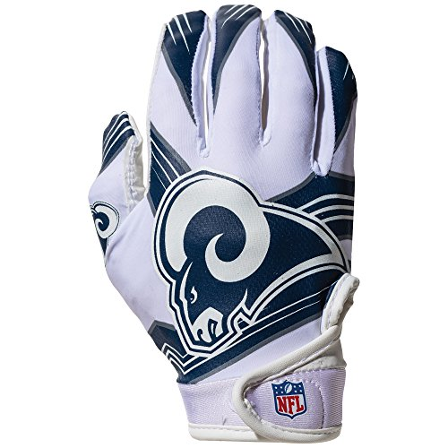 NFL Los Angeles Rams Youth Receiver Gloves,White,Medium (Football Rams)