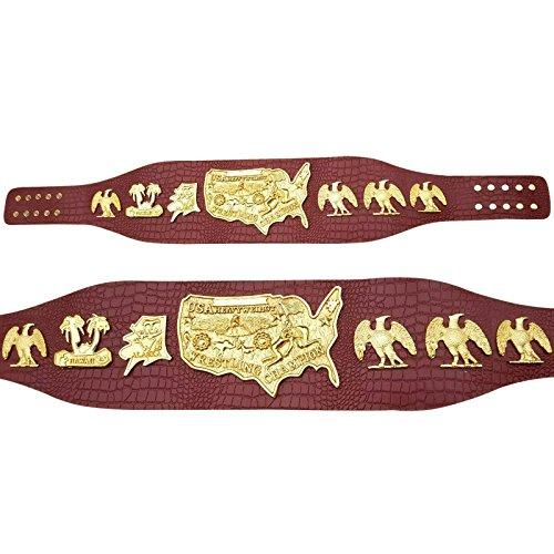 USA Heavy Weight Championship Belt Gold Plating Genuine 3MM Crocodile Leather (Nwa Replica Belt)