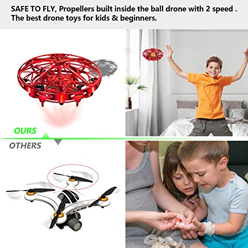 UTTORA UFO Mini Drone for Kids Hand Control Helicopter Quadcopter Infrared Induction Rechargeable Flying Aircraft Toys Games for Girls Boys Adults Indoor Outdoor Flying Ball Toys