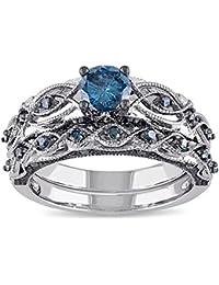 Women's Vintage Filigree Infinity Bridal Rings Set Twisted Forever love Created Dark Sapphire Gemstone Wedding Eternity Ring Band Sets
