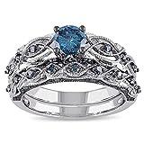 vintage filigree rings - Women's Vintage Filigree Infinity Bridal Rings Set Twisted Forever love Created Dark Sapphire Gemstone Wedding Eternity Ring Band Sets 6