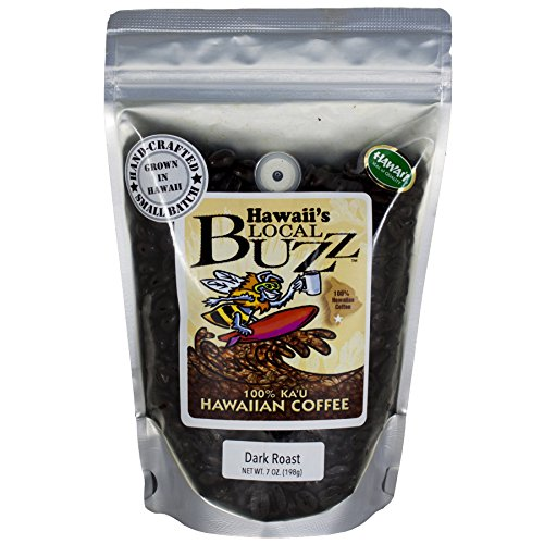 Hawaii's Local Buzz Whole Bean Coffee, Dark Roast, 7 Ounce