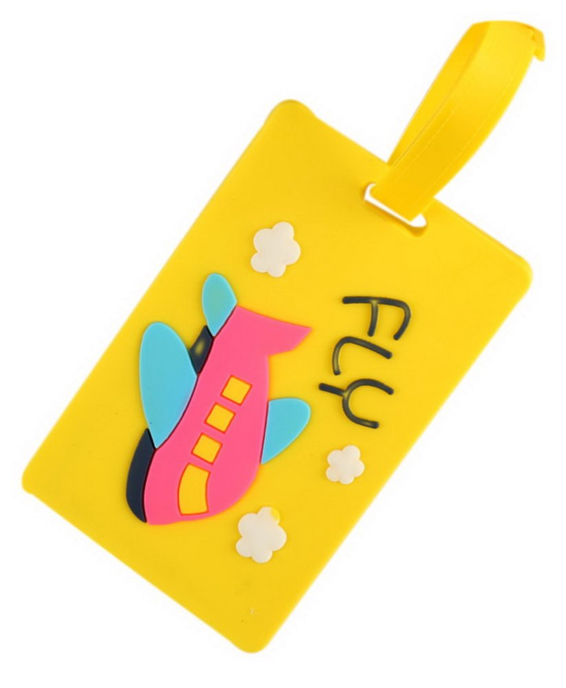 Gentle Meow 2 Pack Luggage Tags Travel Suitcase Label Tags Cute Shipping Luggage Tag, Yellow
