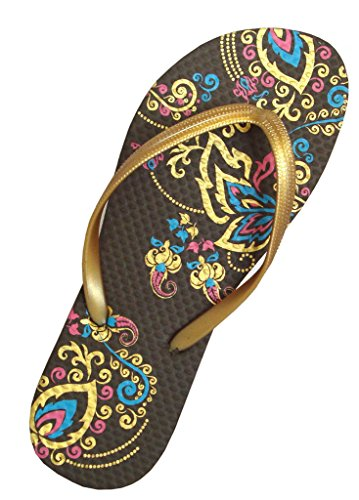 Old Navy Wedge Flip Flops (Pure Ziva Women's Brown & Yellow Gold Trim Blue Pink Flower Floral Design Pattern Casual Beach Flip Flop Flat 1/2 0.5