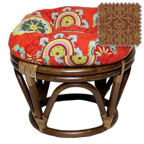 DCG Stores 18-Inch Bali Rattan Papasan Footstool with Cushion - Print Outdoor Fabric, Vanya Paprika Exclusive