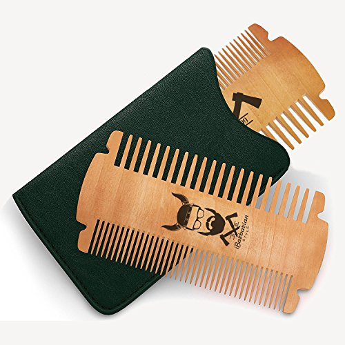 BEST DEAL, Handmade Beard Comb For Men, Pocket Wooden Comb with Fine & Coarse Teeth For Beard, Hair & Mustaches, Comes with PU Leather Case by iBarbarian