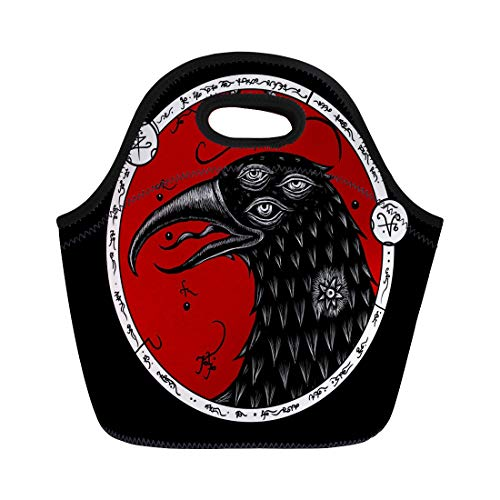 Semtomn Neoprene Lunch Tote Bag Aged Mystical Three Eyed Raven Secret Writing Alchemical Alchemy Reusable Cooler Bags Insulated Thermal Picnic Handbag for Travel,School,Outdoors,Work]()