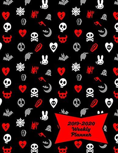 2019-2020 Weekly Planner: Cute Skulls, Goth Hearts &
