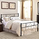 GreenForest Queen Bed Frame Metal with Headboard Steel Platform Mattress Foundation Bed Box Spring Replacement, Black