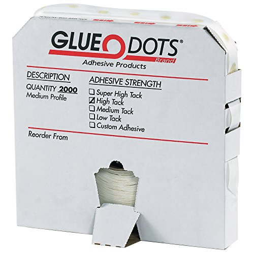 Glue Dot GD105 Medium Profile High Tack Glue Dot, 1/2'' Diameter x 1/32'' Thick (Case of 2000) by Glue Dots