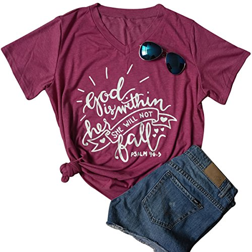 God Is Within Her She Will Not Fall Jesus T-Shirt Women Casual Short Sleeve Tops Size M (Burgundy) - Will Blend T-shirt