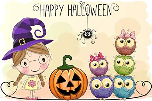 Leyiyi 5x3ft Cartoon Happy Halloween Backdrop Trick or Treat Banner Cute Witch Girl Night Owls Pumpkin Lanterns Spider Photography Background Scary Carnival Night Photo Studio Prop Vinyl Wallpaper