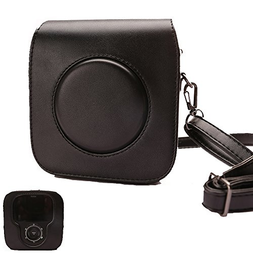 For Fujifilm Instax Square SQ10 Camera, Classic Vintage PU Leather Compact Case Bag with Adjustable Shoulder Strap to protect Fuji instax SQ10 Camera by HelloHelio-Black