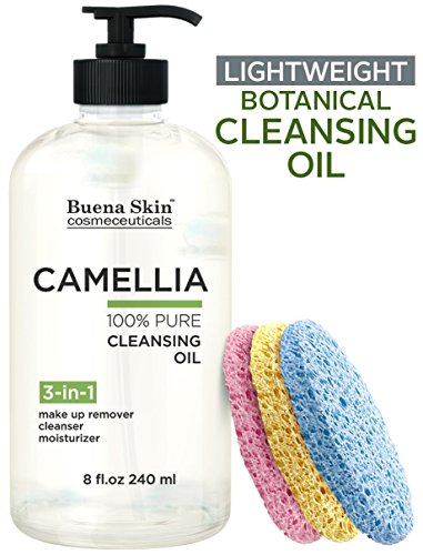 Camellia Botanical Cleansing Oil - 3 Sponges Included - 100% Natural Eye Makeup Remover, Deep Cleanser, Moisturizing Body/Bath/Massage Oil | Lightweight, No Residue 8oz By Buena Skin (Makeup Cleansing Lotion)