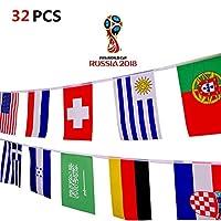 String-Banner 10M National Flaggen Wimpelkette 32 Länder Flaggen WM 2018 Fahnenkette