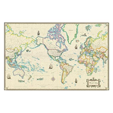World Modern Day Antique Canvas Wall Map 24x36