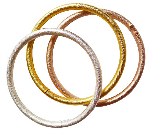 Stainless Steel Tri-color Bangle Bracelets for Women 3-piece Set - 7