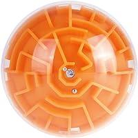 guoYL26sx chird's Toys,Mini 3D Magic Maze Puzzle Ball Labyrinth Brain Teaser Game Kids Education Toys - Orange