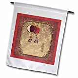 3dRose fl_40289_1 Happy New Year in Chinese, Two Lanterns Garden Flag, 12 by 18-Inch