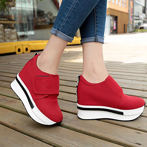 Boots Trainers Flat Slip Bovake Unisex Shoes On Platform Loose Casual Shoes Ankle Fashion Fitness Running Boots Lightweight Sneakers Shoes Shoes Wedges Casual Gym Women Red Jogging zrqz1w76