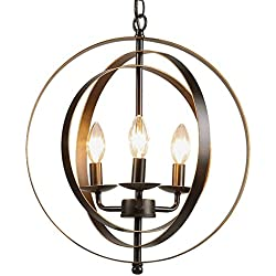 CO-Z Antique Bronze 3-Light Metal Industrial Globe Chandelier, Rustic Sphere Pendant Chandelier Lighting, Orb Hanging Ceiling Light Fixture for Dining Room Foyer Bedroom Kitchen Enterway Farmhouse