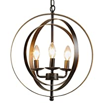 CO-Z Antique Bronze Metal Industrial Globe Chandelier, Rustic Sphere Foyer Pendant Chandelier Farmhouse Lighting, Orb Hanging Ceiling Light Fixture Kitchen Dining Room