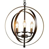 CO-Z Antique Bronze 3-Light Metal Industrial Globe Chandelier, Rustic Sphere Pendant Chandelier Lighting, Orb Hanging Ceiling Light Fixture for Dining Room Foyer Bedroom Kitchen Enterway Farmhouse For Sale